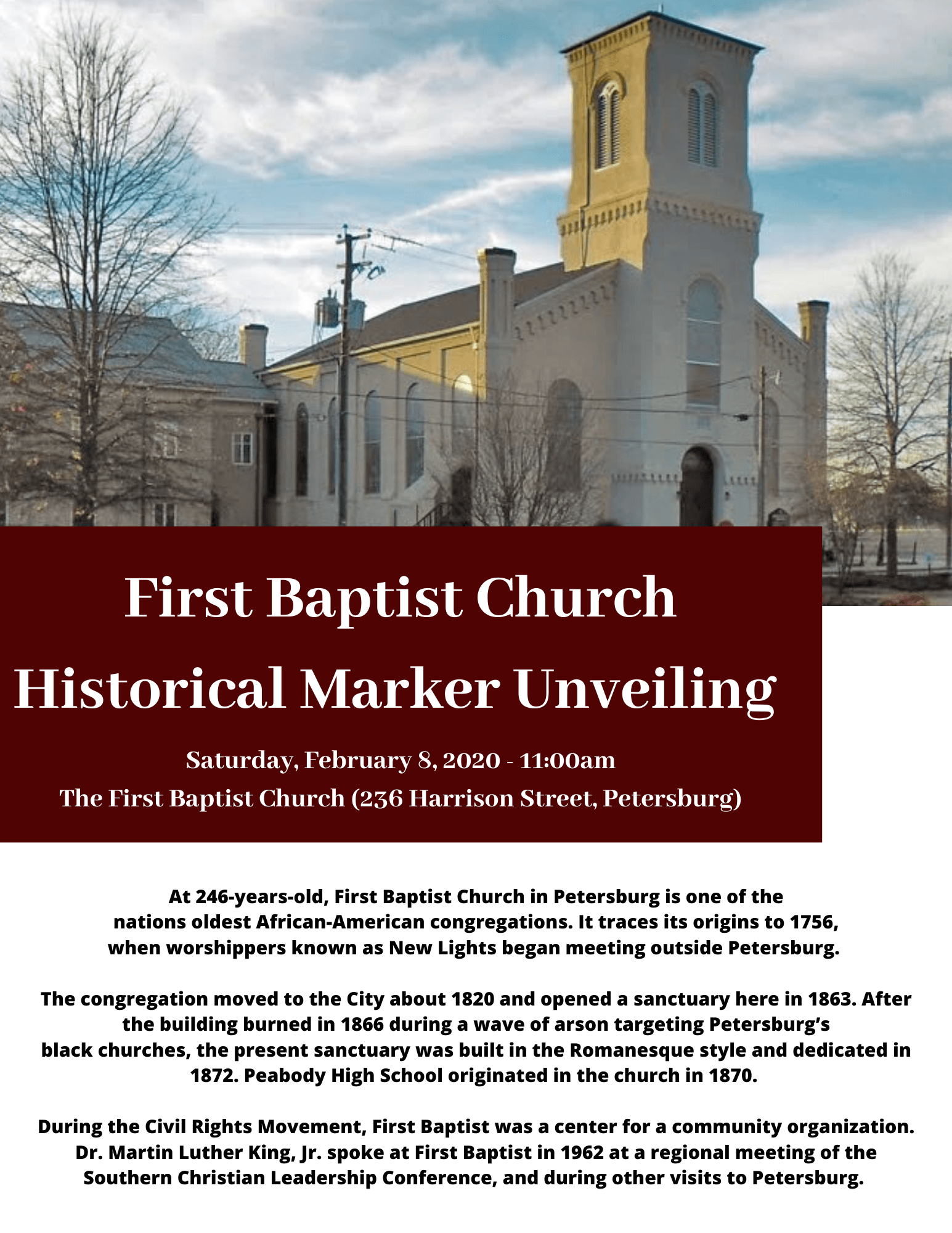 First baptist church historical marker unveiling